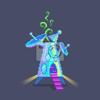 Image Pixel Art Dessin Animé Vaisseau Spatial Extraterrestre