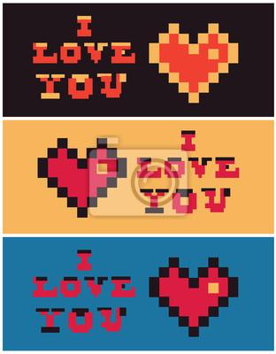 Pixel Art Je Taime Coeur Set Texte Peintures Murales Tableaux Pixel Vous Amoureux Myloview Fr