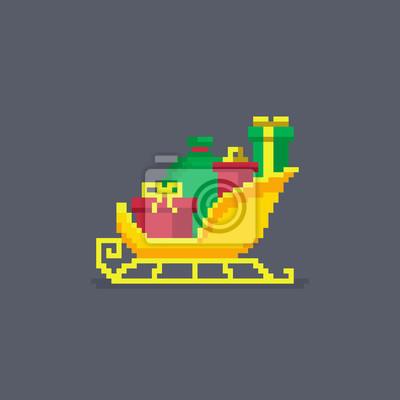 Image Pixel Art Luge Avec Des Cadeaux