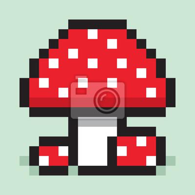 Image Pixel Art Minimaliste Champignon Grand Et Petit Amanita Plat