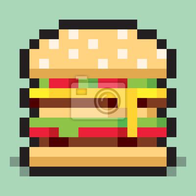 Image Pixel Art Minimaliste Hamburger Plat Jeûne Nourriture