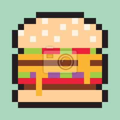 Pixel Art Minimaliste Hamburger Plat Jeune Nourriture Peintures Murales Tableaux Pixel Minimal Minimaliste Myloview Fr