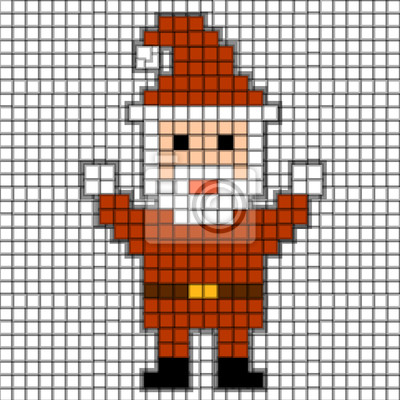 Image Pixels Père Noël Thème De Noël Illustration Vectorielle Blanc