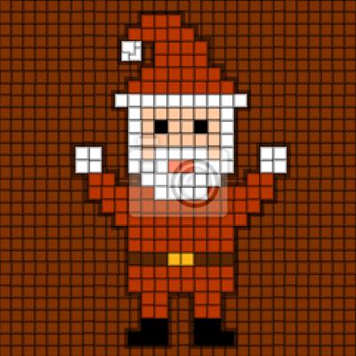 Image Pixels Père Noël Thème De Noël Red Vector Illustration De 10