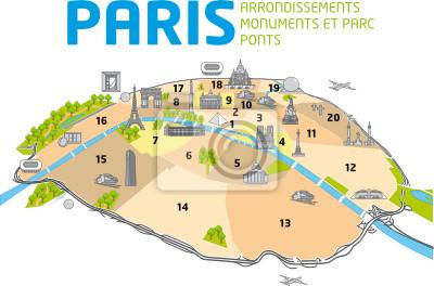 Karte Paris Arrondissement.Image Plan De Paris Ponts Monuments Arrondissements