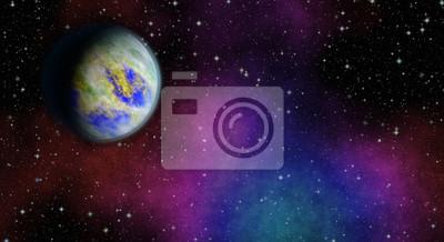 Planète mystérieuse et inconnue dans l'univers. La vie parmi les étoiles. Vue panoramique sur l'espace profond. Sombre ciel nocturne plein d'étoiles. La nébuleuse dans l'espace.