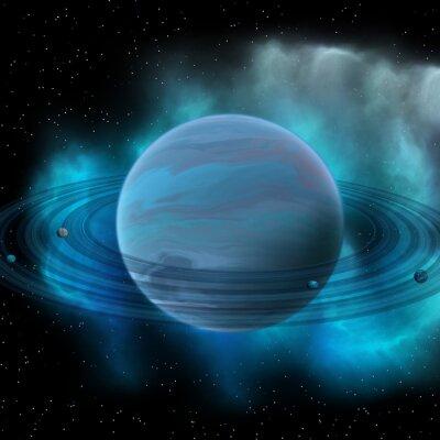 Image Planète Neptune - Neptune est la planète huit de notre système solaire et a des anneaux planétaires et une grande tache sombre indiquant une tempête sur sa surface.
