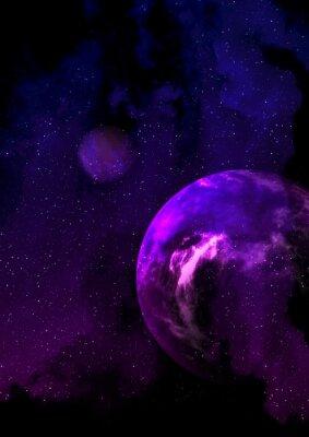 Planète pourpre dans l'espace