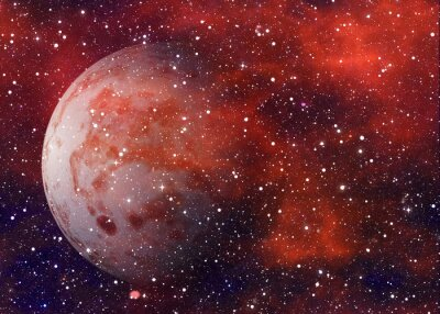 planète rouge sur fond d'étoiles cosmos