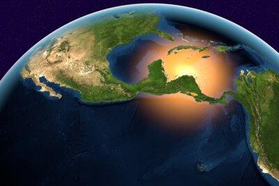 Image Planète Terre, la Terre depuis l'espace montrant l'Amérique centrale, au Belize, Costa Rica, El Salvador, Guatemala, Honduras, Nicaragua, Panama, le globe dans la journée, des éléments de cette image