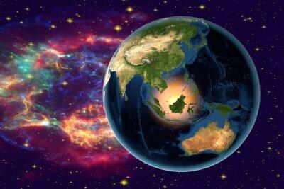 Image Planète Terre sur le fond avec des étoiles et des galaxies, la Terre depuis l'espace montrant l'Indonésie, l'Australie, l'Inde et la Malaisie sur globe dans la nuit, des éléments de cette image fourni