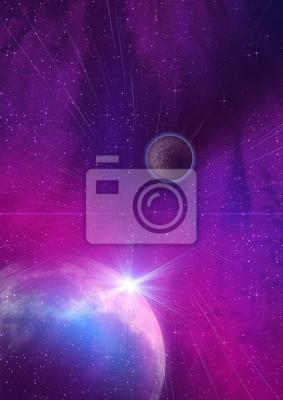 Planète violette dans l'espace