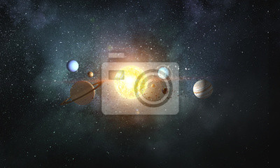 Planètes du système solaire. Médias mélangés