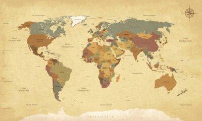 Image Planisphère Mappemonde Vintage - texte en français. CMJN vecteur
