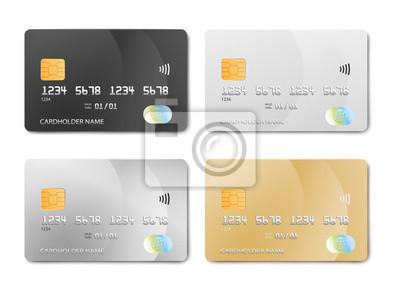 Image Plastic bank card design template set - isolated credit or debit cards mockup