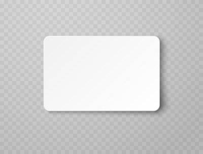 Image Plastic or paper white business card isolated on transparent background. Vector blank sticker, sheet, label, banner with rounded corners template