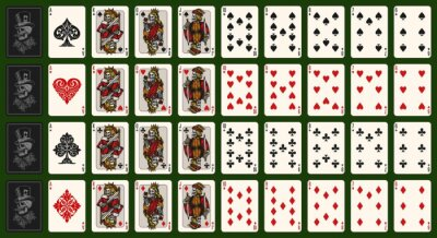 Image Playing cards vintage colorful composition