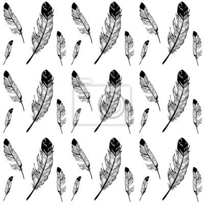 Plumes Noir Et Blanc Dessin Graphique Seamless Texture Peintures
