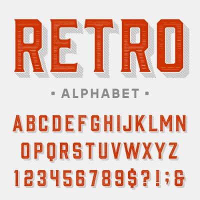 Image Police de vecteur rétro. Lettres, chiffres et symboles. Alphabet vintage pour les étiquettes, les titres, les posters etc.