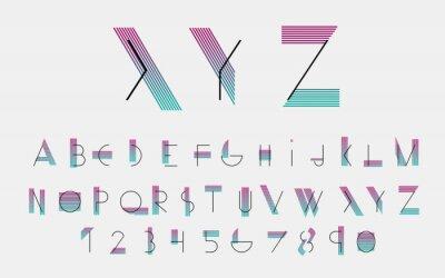 Image Polices et numéros alphabétiques noirs avec des lignes de couleur. Illustration vectorielle.