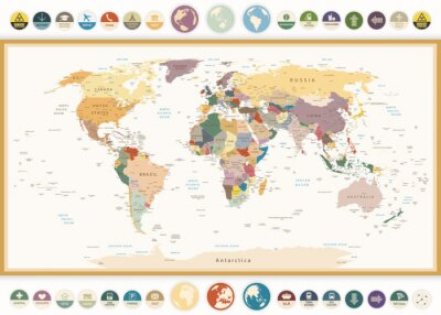 Image Political World Map with flat icons and globes.Vintage colors.