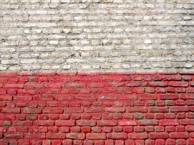 Image Pologne, drapeau, peint, mur
