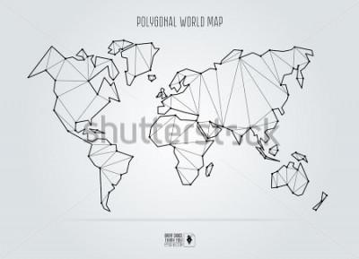 Image Polygonal abstract world map. Vector illustration.