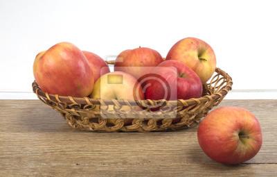 Pommes, panier, bois, fond