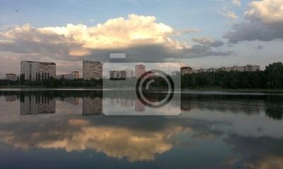 Pond à Moscou avec des reflets