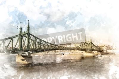 Image Pont de la Liberté à Budapest, Hongrie. Photographie de destination touristique avec sityscape et rivière.