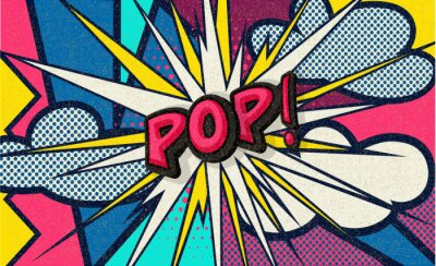 Image Pop! Pop art funny comic speech word. Fashionable poster and banner. Social Media Connecting Blog Communication Content. Trendy and fashion color retro vintage illustration background. Easy editable.
