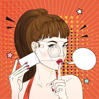 Image Pop Art Femme Avec Coiffure Retro Detient Carte De Visite Comique Bulle