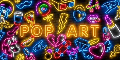Image Pop art icons set. Pop art neon sign. Bright signboard, light banner. Neon isolated icon, emblem. Heart, diamond, pizza, smile, hand, ice cream, star, donut and unicorn vector neon icon