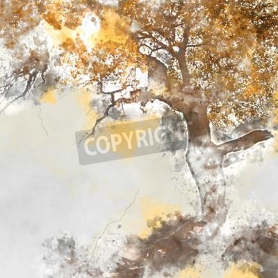 Image Poplar tree in autumn season, watercolor background made in computer program