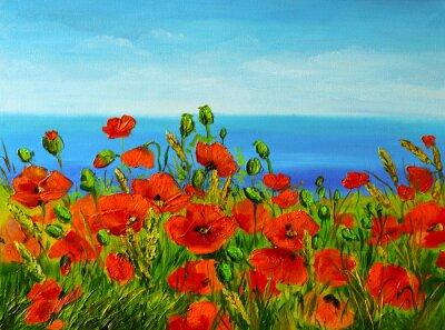 Image poppy field near the sea, colorful coast, art oil painting