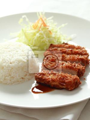 porc frit avec du riz janpanese