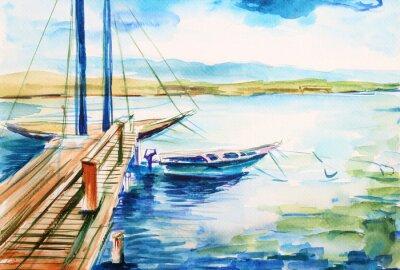 Image Port nad jeziorem genevskim - ilustracja ręcznie malowana