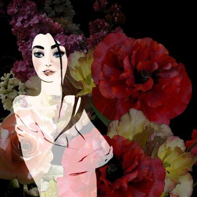 Image Portrait, beau, brunette, floral, fond