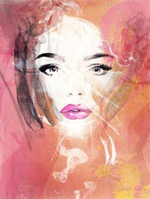 Image portrait de femme .abstract aquarelle