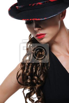 Portrait De Femme Elegante Avec Chapeau Noir Peintures Murales Tableaux Hargneux Eclatant Feminite Myloview Fr