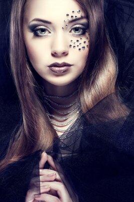 Image Portrait de la santé sexuelle belle fille avec strass sur le visage,