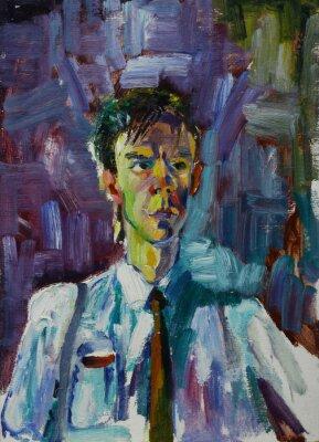 Image Portrait de peinture à l'huile avec portrait masculin en couleurs vives Sur Toile