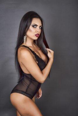 Image Portrait, sensual, brunette, femme, poser, sexy, noir, linger