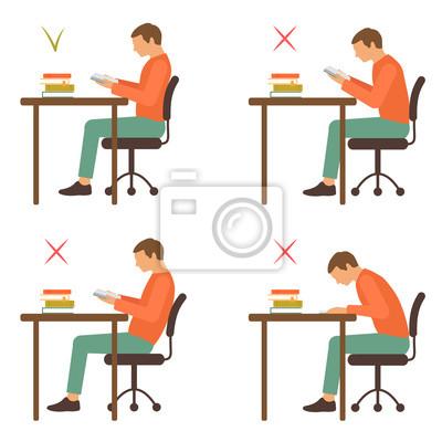 Position ise correcte et incorrecte, posture du bureau de ... on