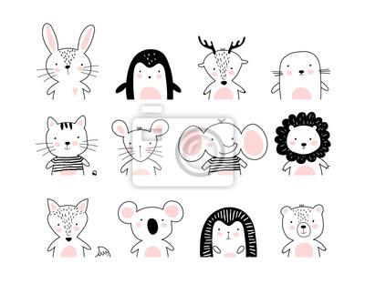 Image Poster with cute animal portraits for a card, baby shower, sticker for a children s bedroom. Doodle illustration Rabbit, penguin, deer, cat, elephant, lion, koala, bear, hedgehog, wolf, fox. vector