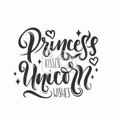 Princesse Bisous Licorne Souhaite Citation Avec Des Elements