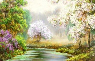 Image Printemps, arbre, rivière, peintures, paysage