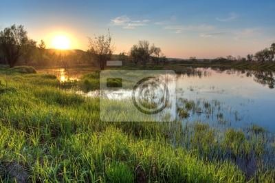 printemps coucher de soleil paysage