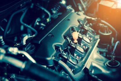 Image Puissant moteur d'une voiture. Conception interne du moteur avec combustion et vanne en tonalité foncée
