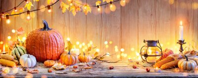 Image Pumpkins On Wooden Table - Thanksgiving Background With Vegetables And Bokeh Lights